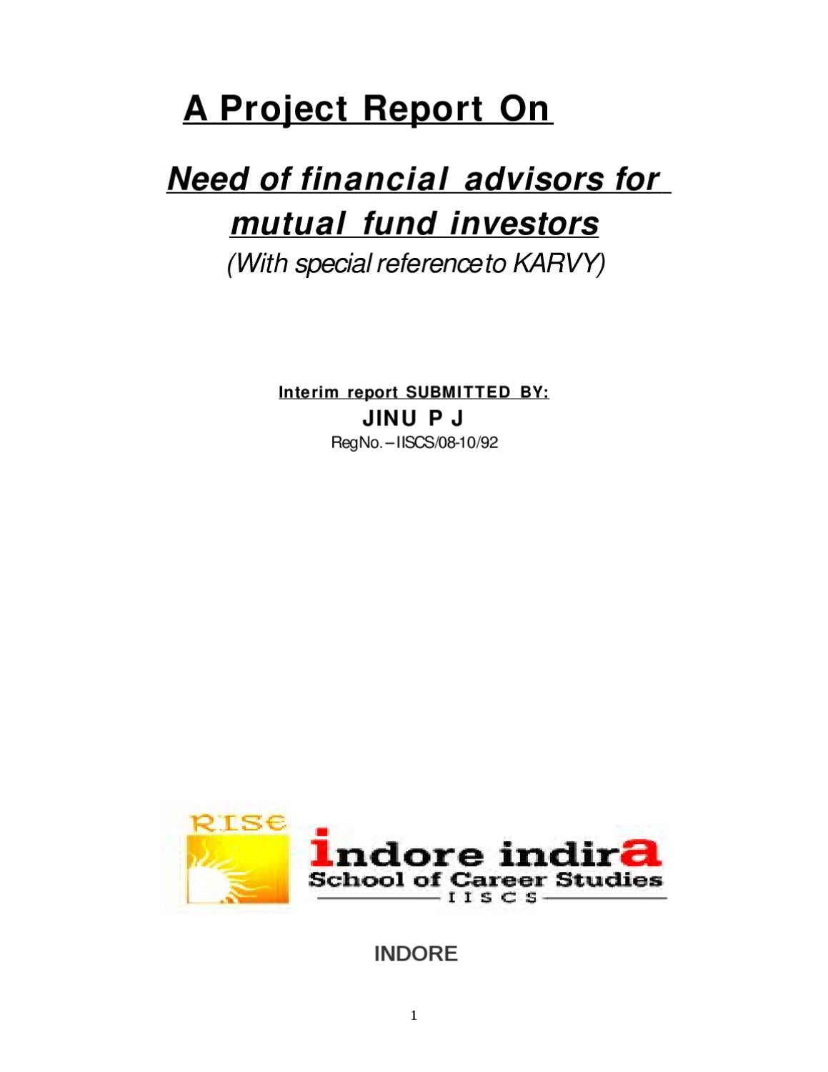 A project report on need of financial advisors for mutual fund by a project report on need of financial advisors for mutual fund by sanjay gupta issuu nvjuhfo Choice Image