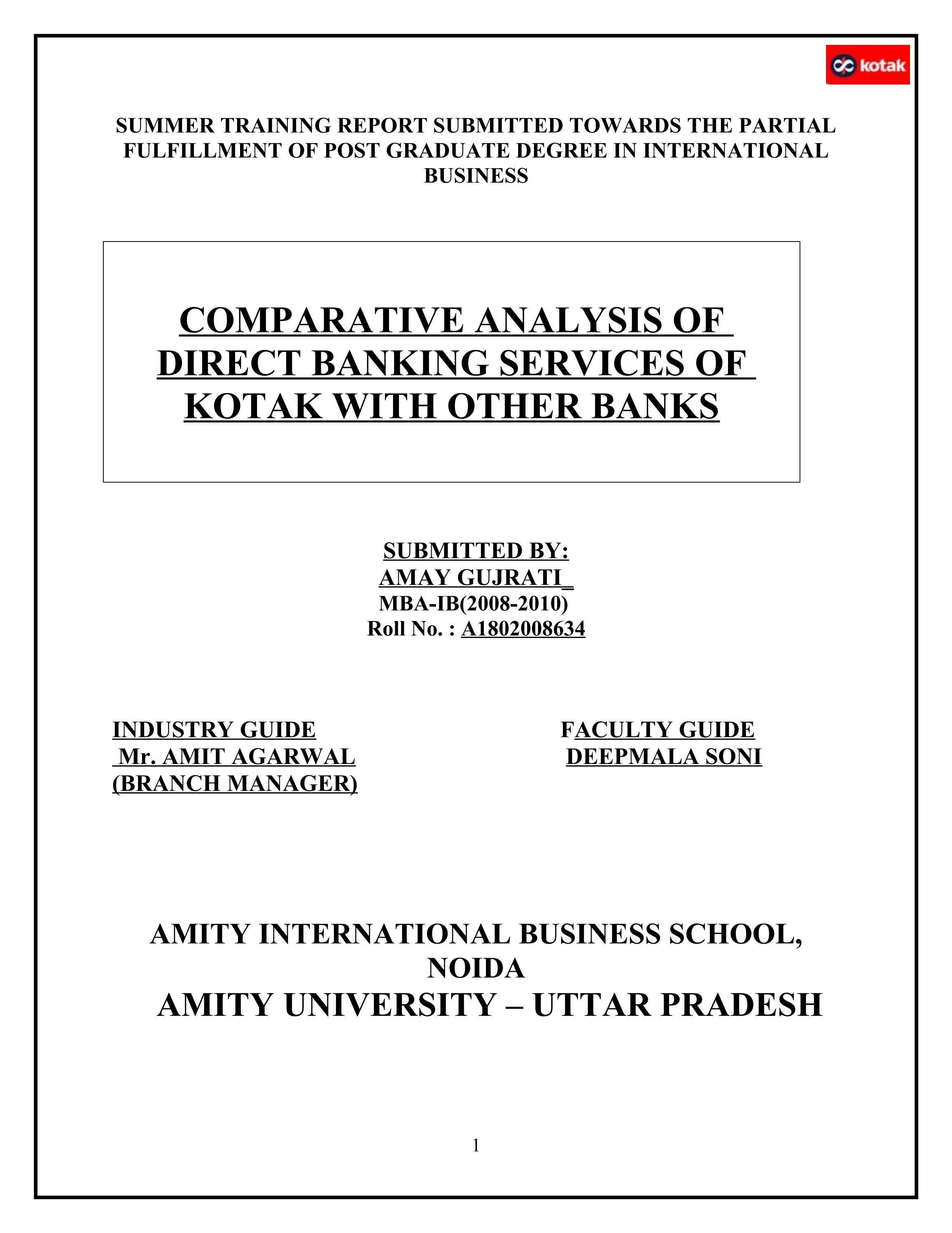 Comparative analysis of direct banking services of kotak with other comparative analysis of direct banking services of kotak with other banks by sanjay gupta issuu falaconquin
