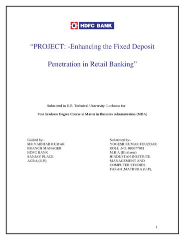 A project study report on customer relationship management in indian enhancing the fixed deposit penetration in retail banking with reference to hdfc yadclub Gallery