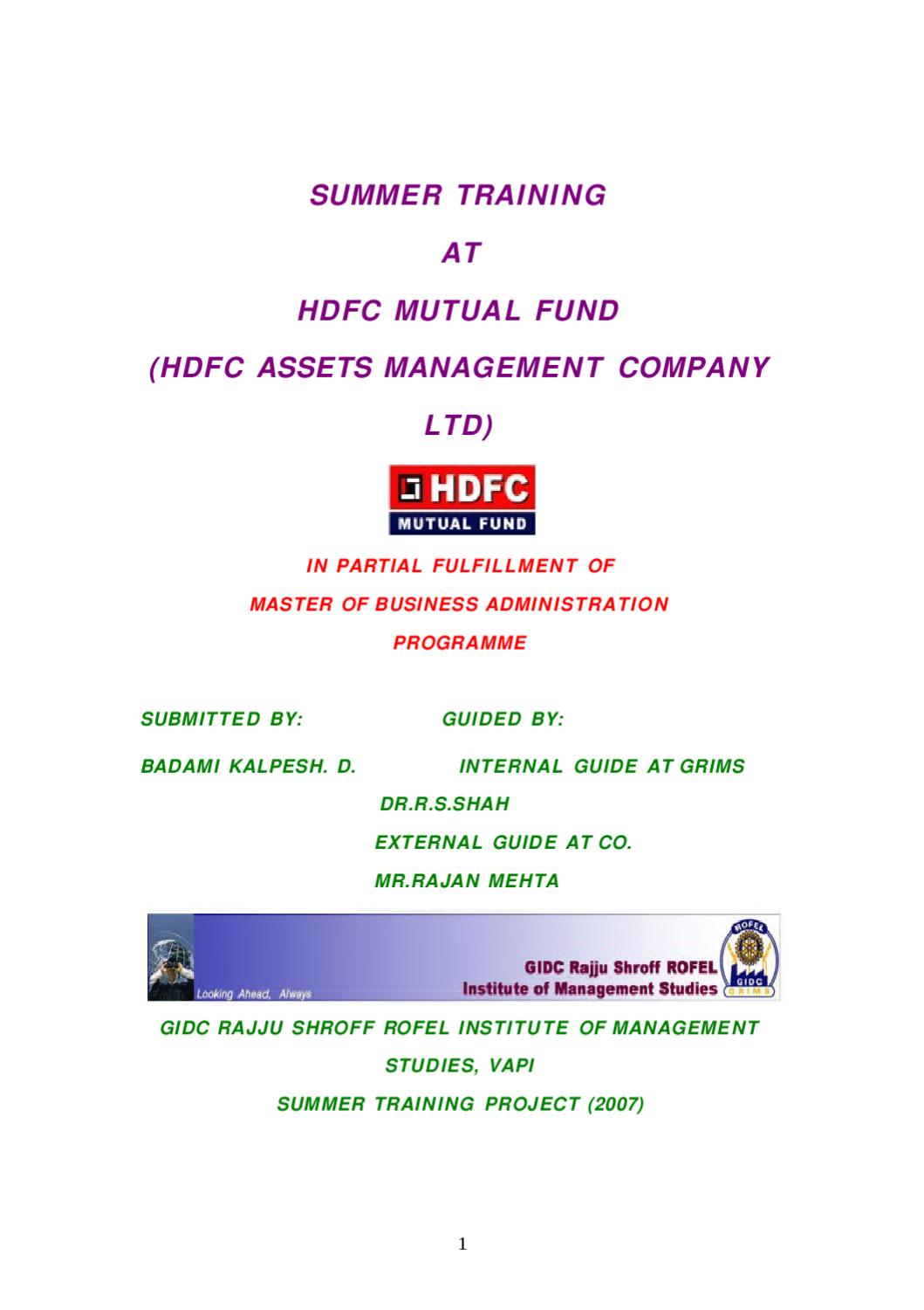 HDFC MUTUAL FUND (HDFC ASSETS MANAGEMENT COMPANY LTD) by Sanjay ...