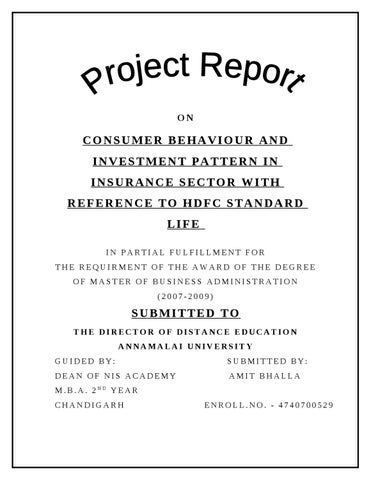 project report on consumer behaviour of hdfc standard life Home topics documents hdfc standard life insurance company limited2 of.