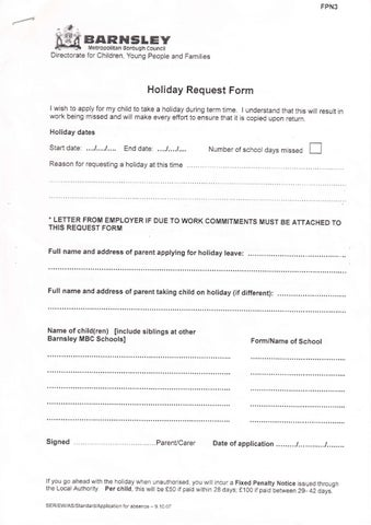 Holiday Request Form By Kate Davies  Issuu