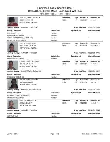 Hamblen Co  Arrest Report & Mugshots 11-2-11 by Innovative