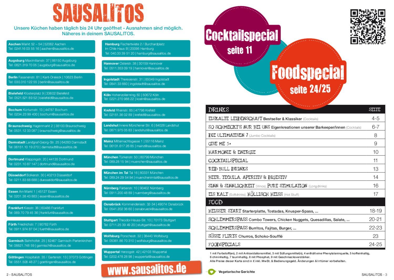 sausalitos karte SAUSALITOS Speisekarte by SAUSALITOS Holding GmbH   issuu