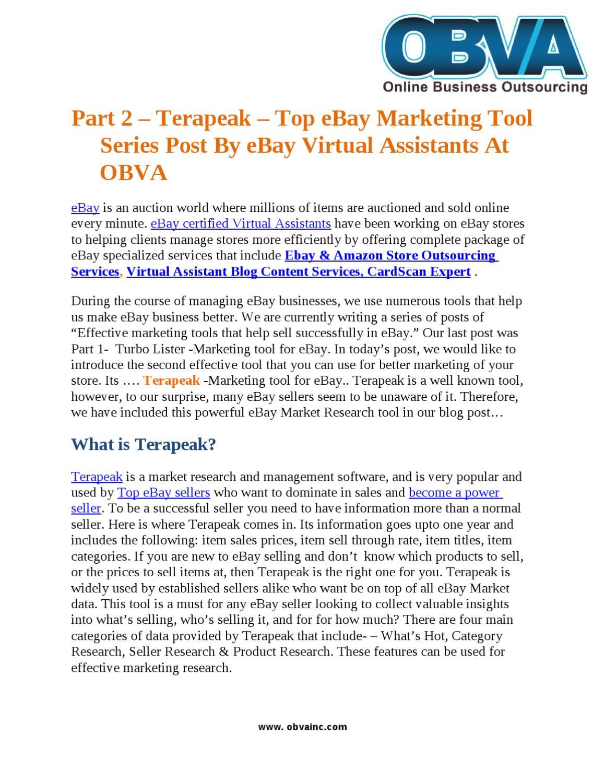 Part 2 Terapeak Top Ebay Marketing Tool Series Post By Ebay