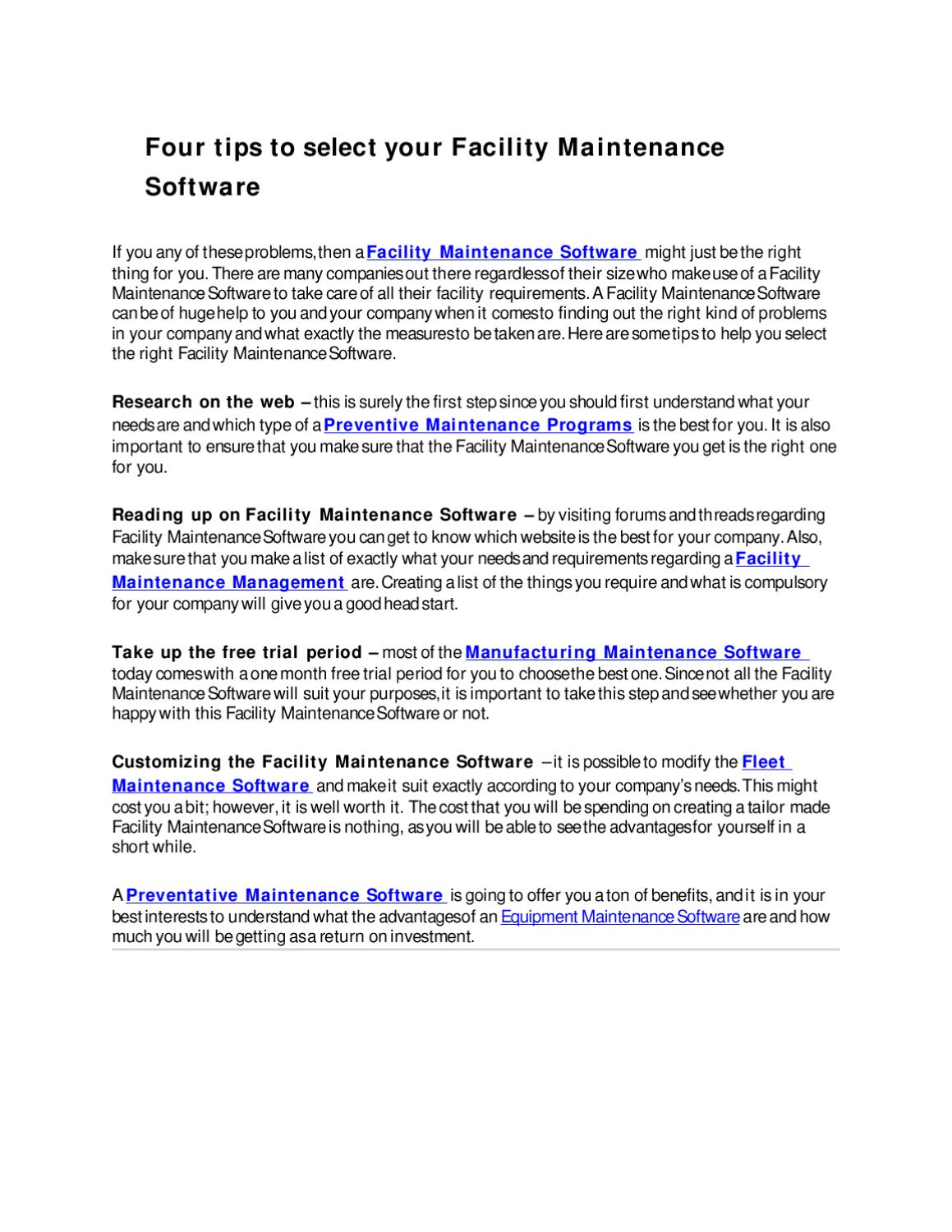 Four tips to select your Facility Maintenance Software by Toshya Tem