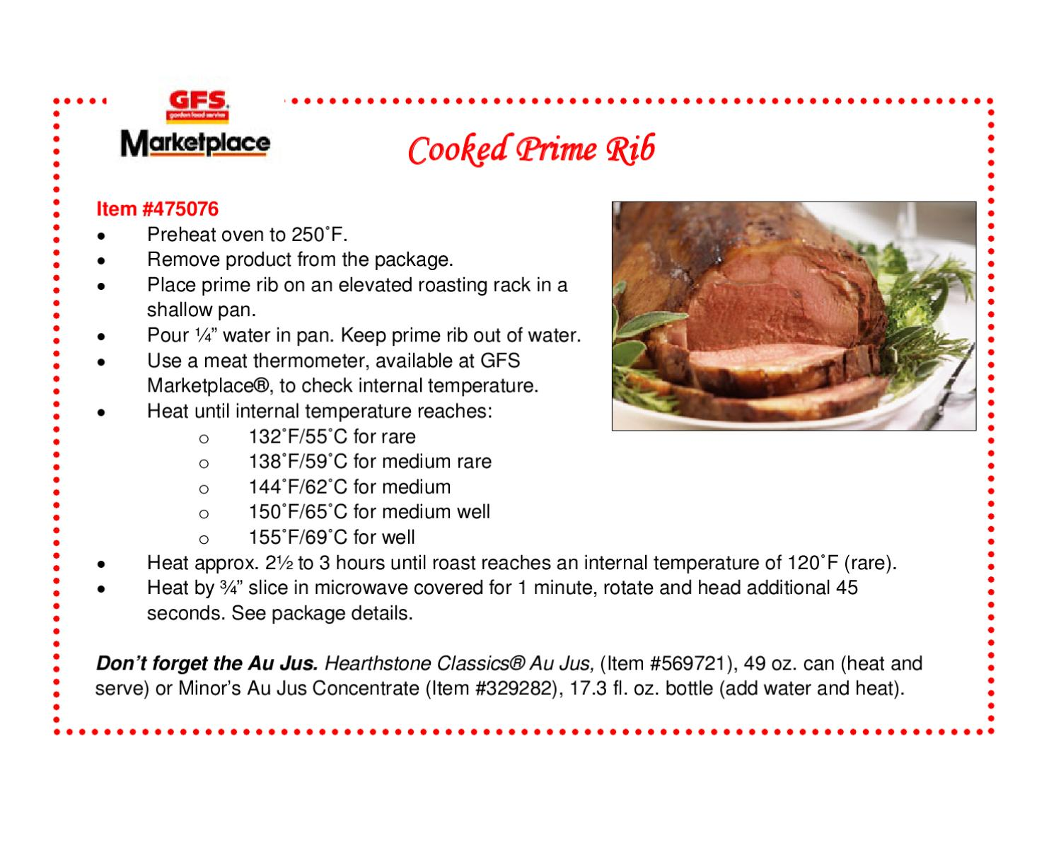 GFS Marketplace Recipe   Cooked Prime Rib By GFS Marketplace   Issuu