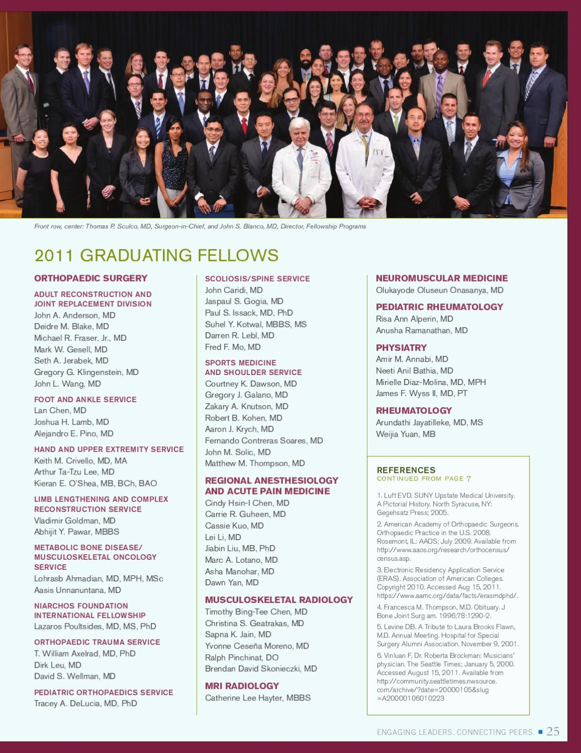 Alumni News, Fall 2011 Edition by Hospital for Special Surgery - issuu