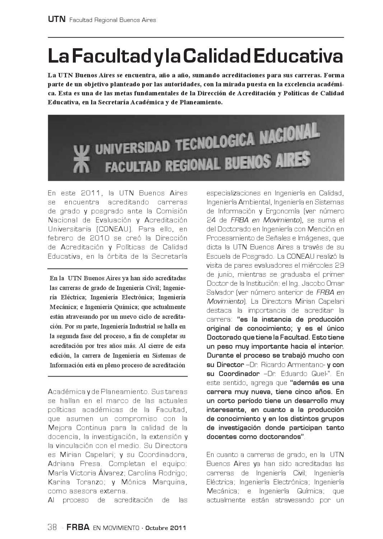FRBA en Movimiento edición octubre de 2011 by Facultad Regional ...