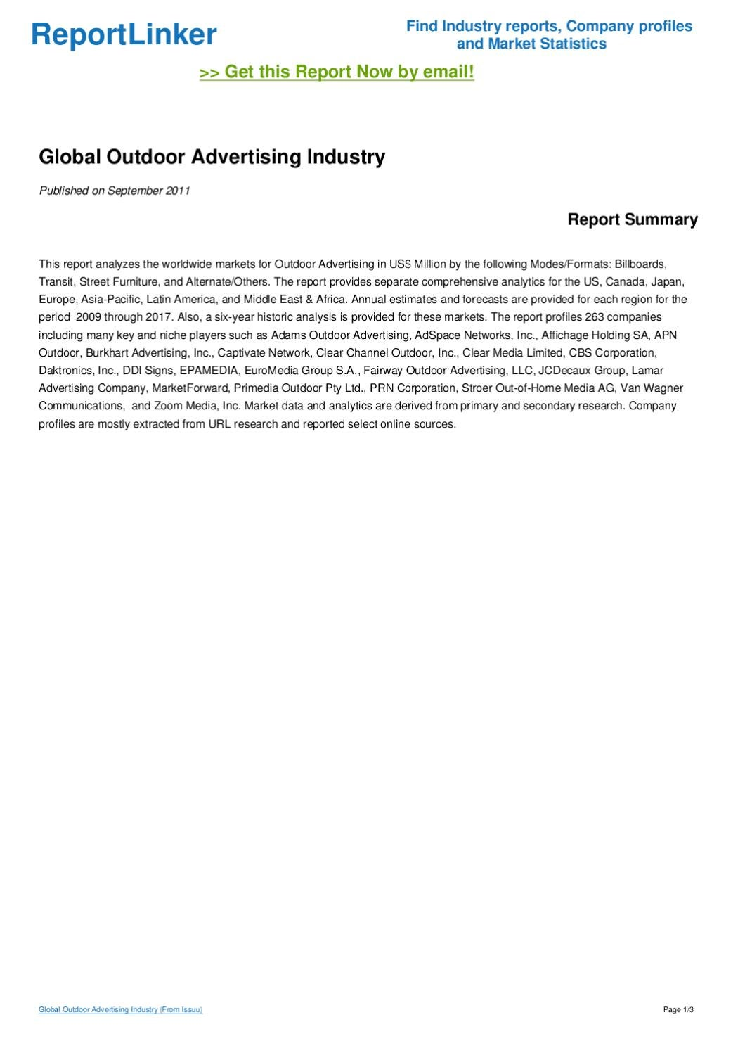 global outdoor advertising industry by ubiquick issuu