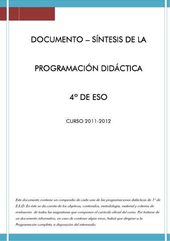 sintesis programacion cuarto eso by Mirador del Genil - issuu
