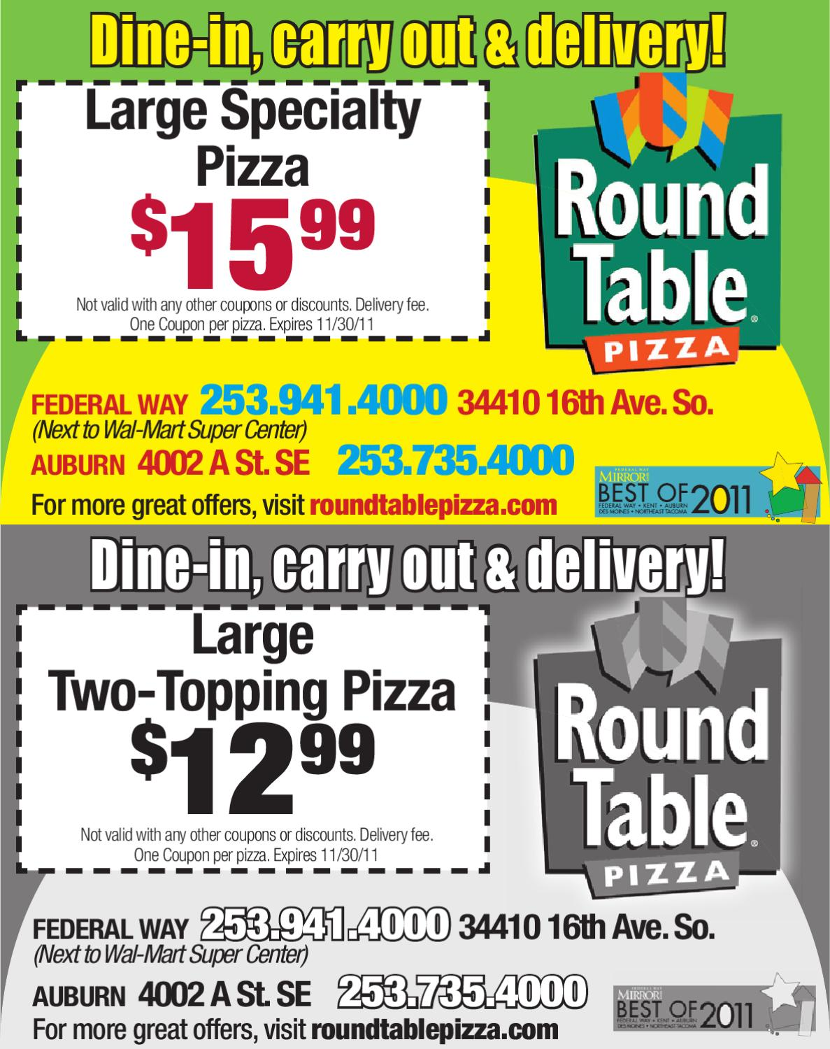 Coupons Round Table Pizza By Sound Publishing Issuu - Round table delivery fee