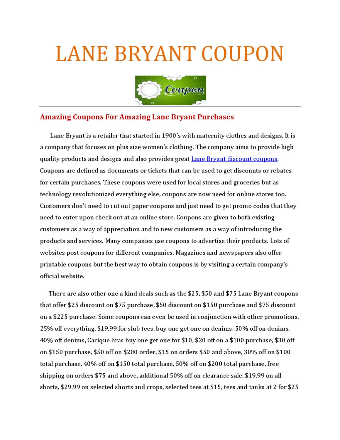 picture regarding Lane Bryant Printable Coupons known as Pay out Considerably less and Retailer Further more with Lane Bryant Coupon Codes by way of