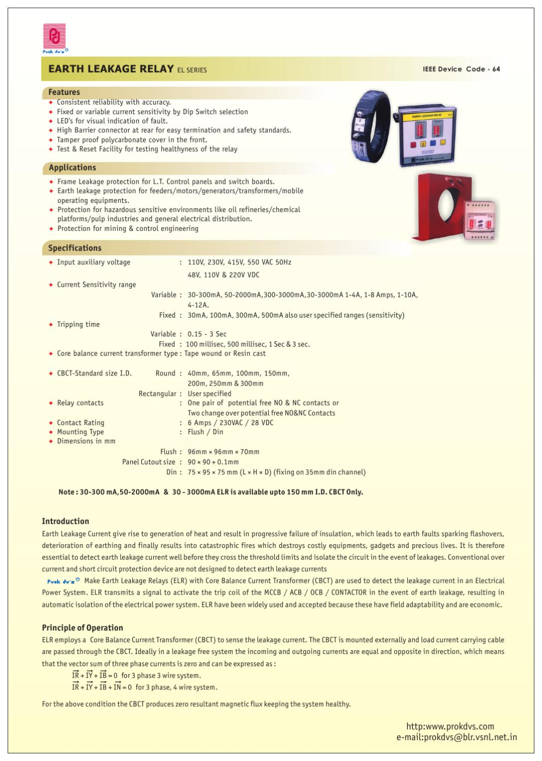 Earth Fault Relay Over Current By Sangram S Issuu Leakage Wiring Diagram