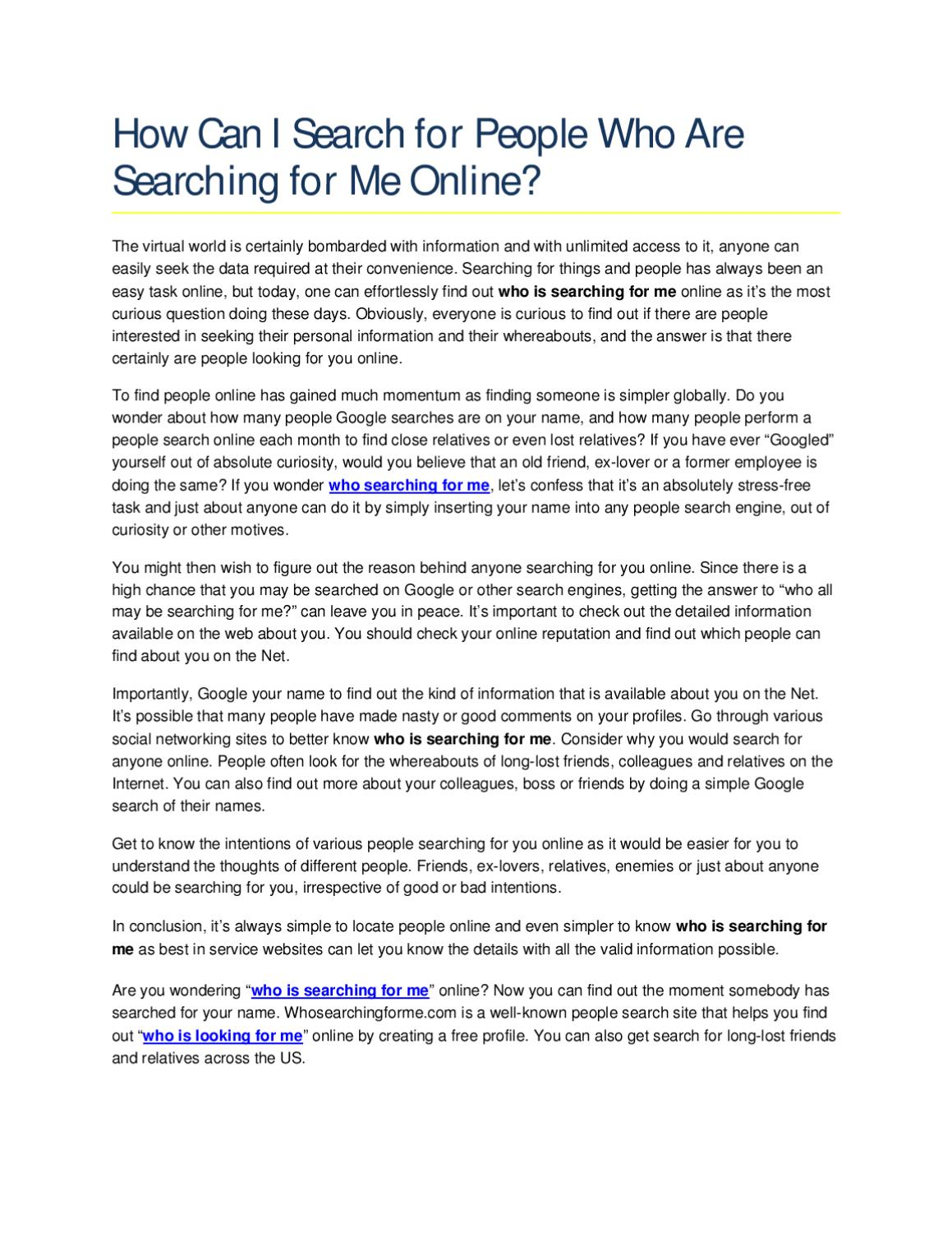 find out who is searching for me online for free