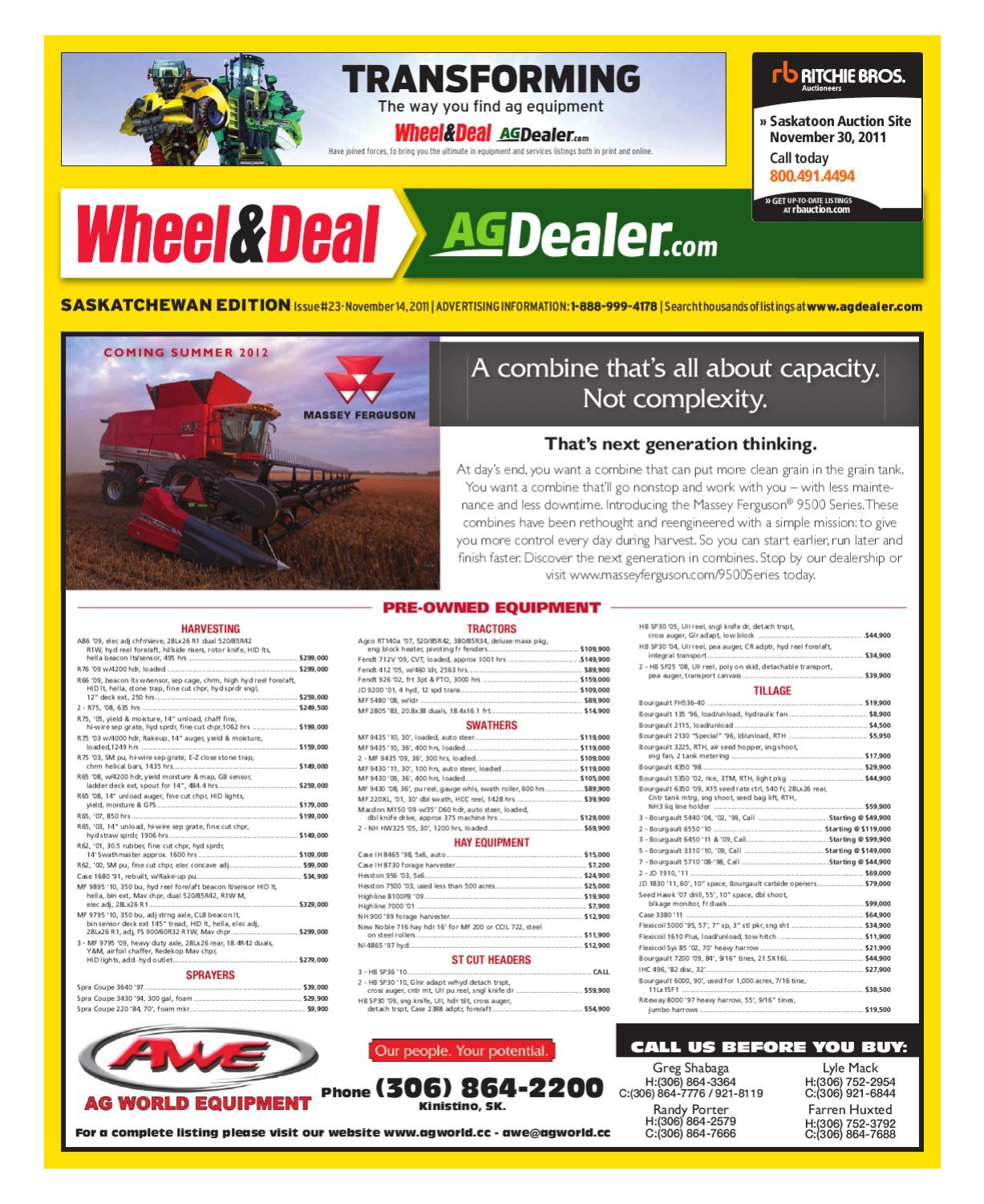 Wheel Amp Deal Saskatchewan November 14 2011 By Farm Business John Deere 110 Backhoe Fuse Box Diagram Communications Issuu