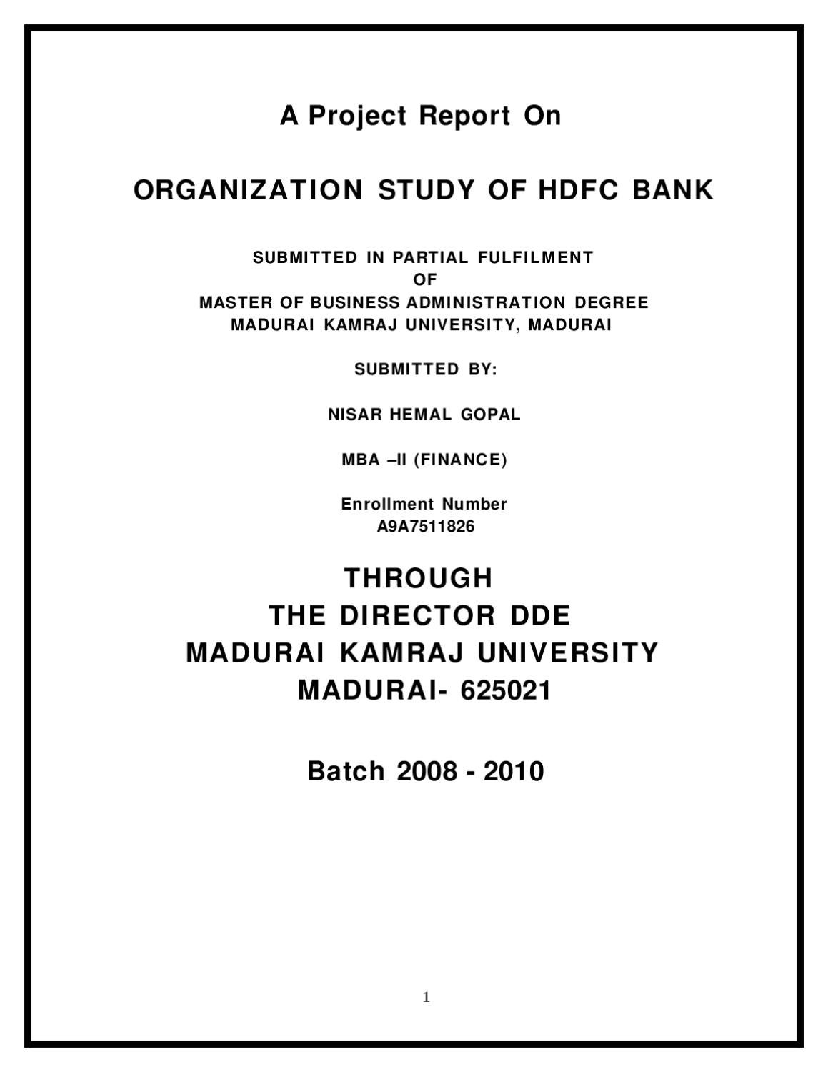 Mba Finance Project Report Pdf