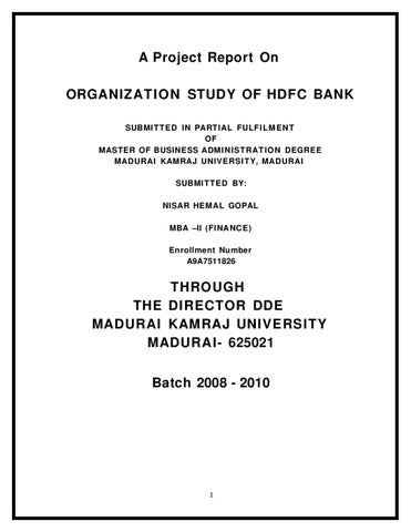 Organization Study Of Hdfc Bank By Sanjay Gupta Issuu