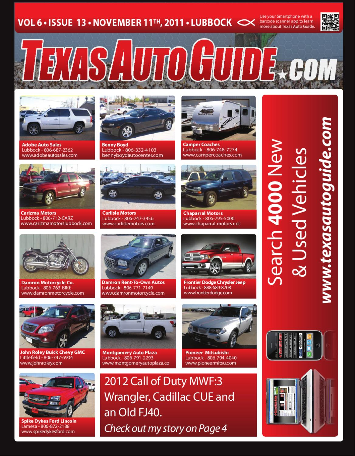 November 11th 2011 issue of texas auto guide lubbock by for Carizma motors lubbock tx