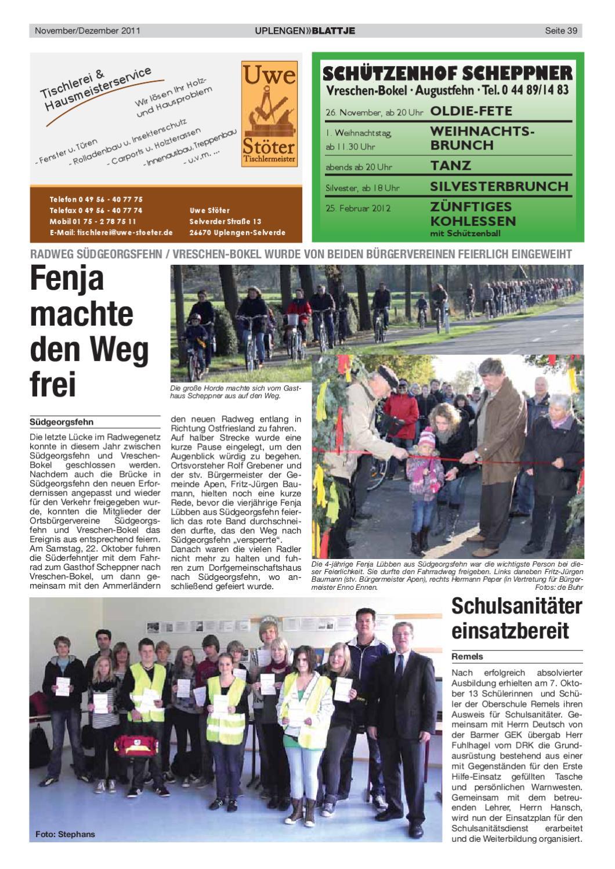 Blattje November 2011 by Uplengen Blattje - issuu | {Schulsanitäter ausweis 24}