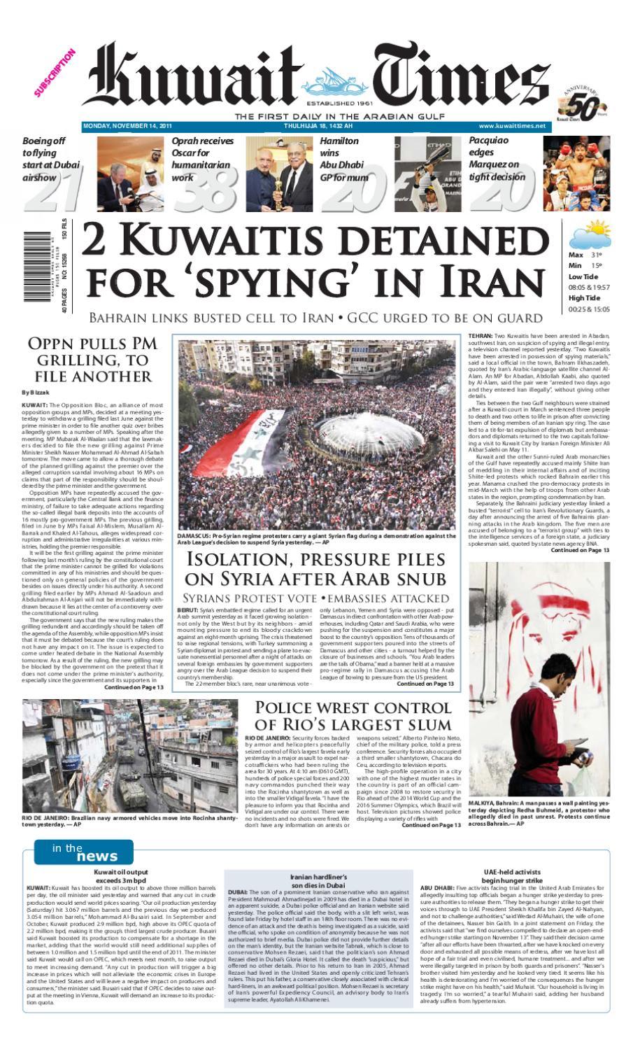 14 Nov 2011 By Kuwait Times Issuu