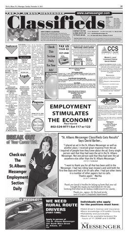 11/15/11 Classifieds by St  Albans Messenger - issuu