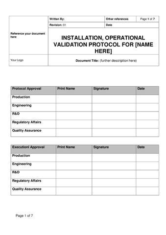 protocol document template - ioq template for medical devices sample by pharmi med ltd