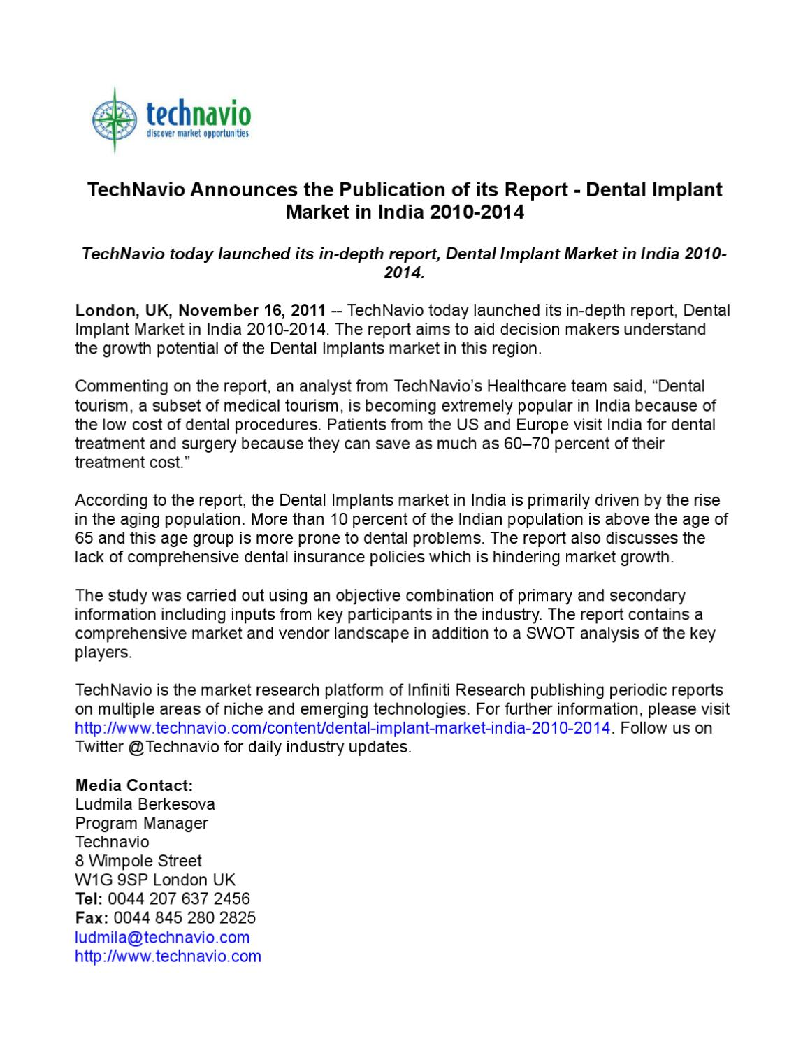 Technavio Announces The Publication Of Its Report Dental Implant Market In India 2010 2014 By Online Pr Dist Issuu