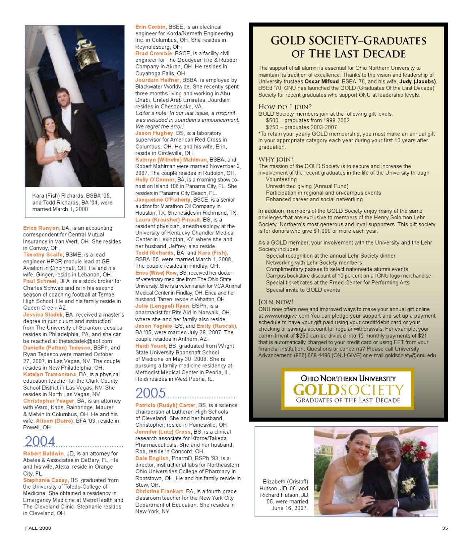 Alumni Journal: Fall 2008 by ONU Communications & Marketing