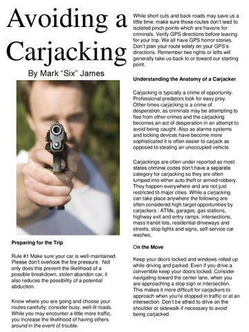 Avoiding A Carjacking By Mark Six James By Panther Protection