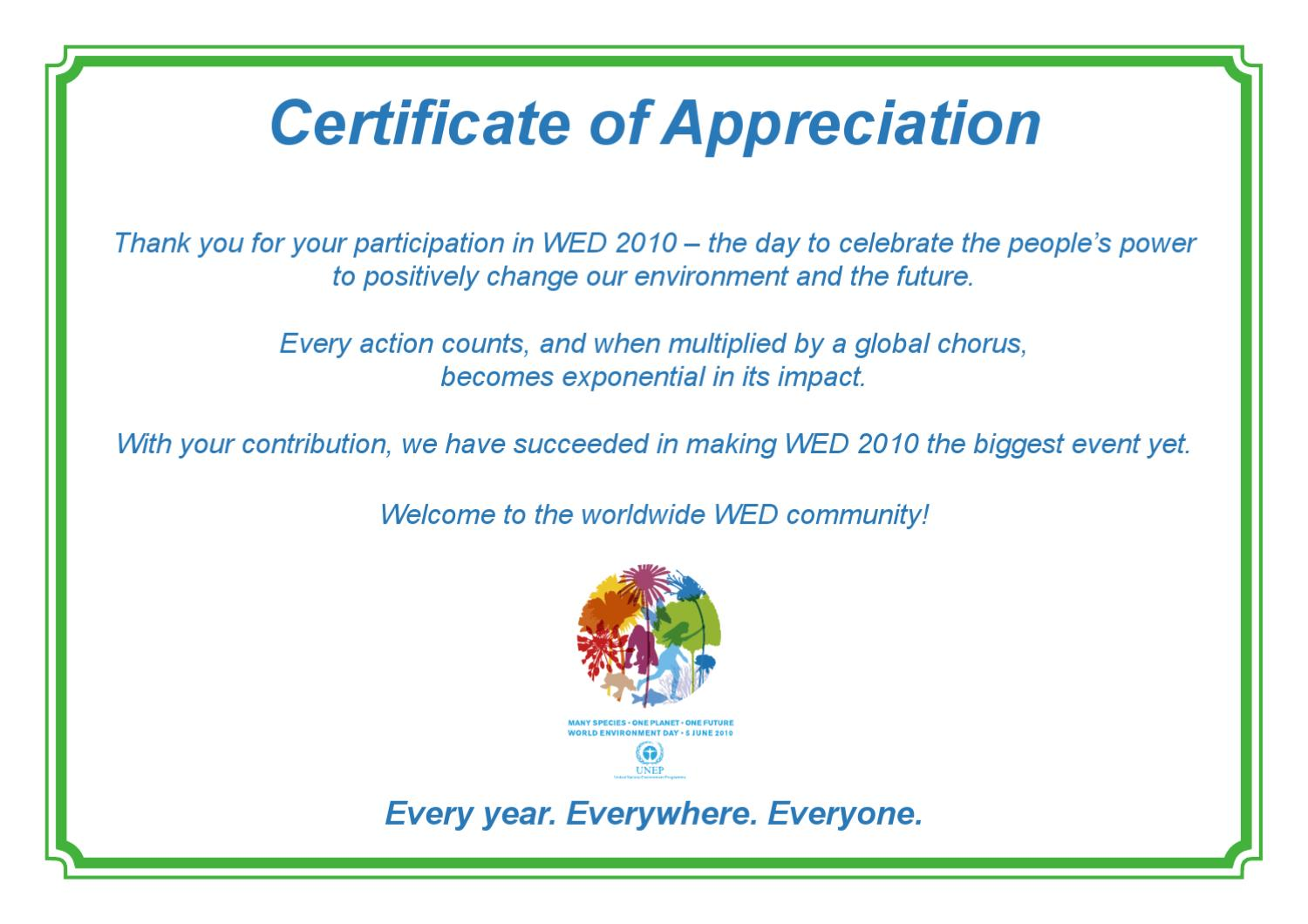 wed certificate of appreciation by clean up israel