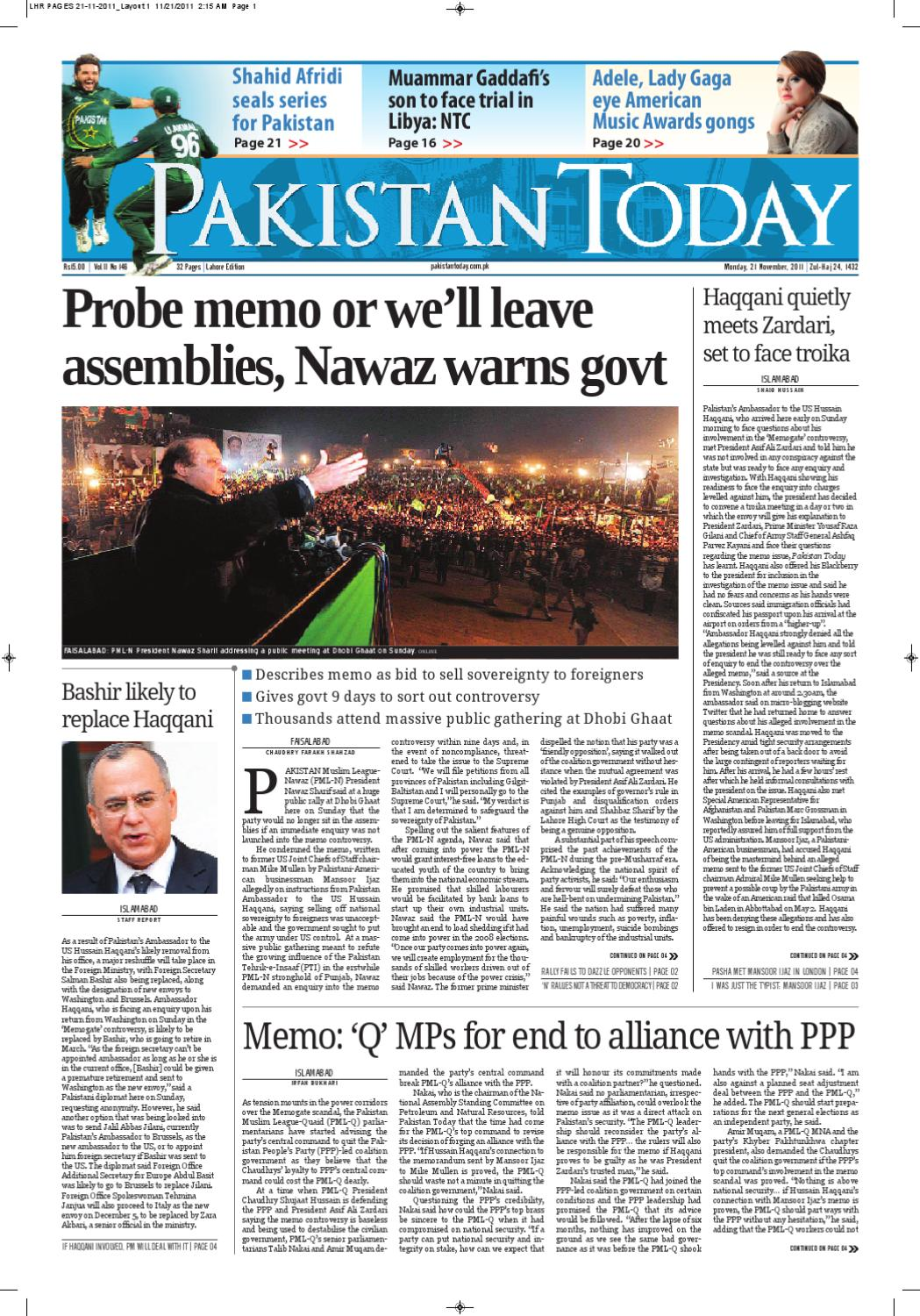 E-paper Pakistantoday Lahore 21th Nov 2011 by Pakistan Today - issuu