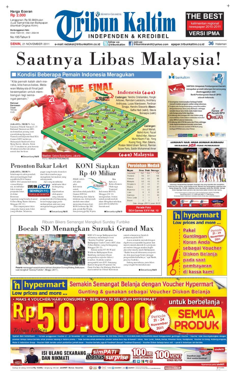 Tribunkaltim 21 November 2011 By Tohir Tribun Issuu Agung Voucher Hypermart 50000 Bth