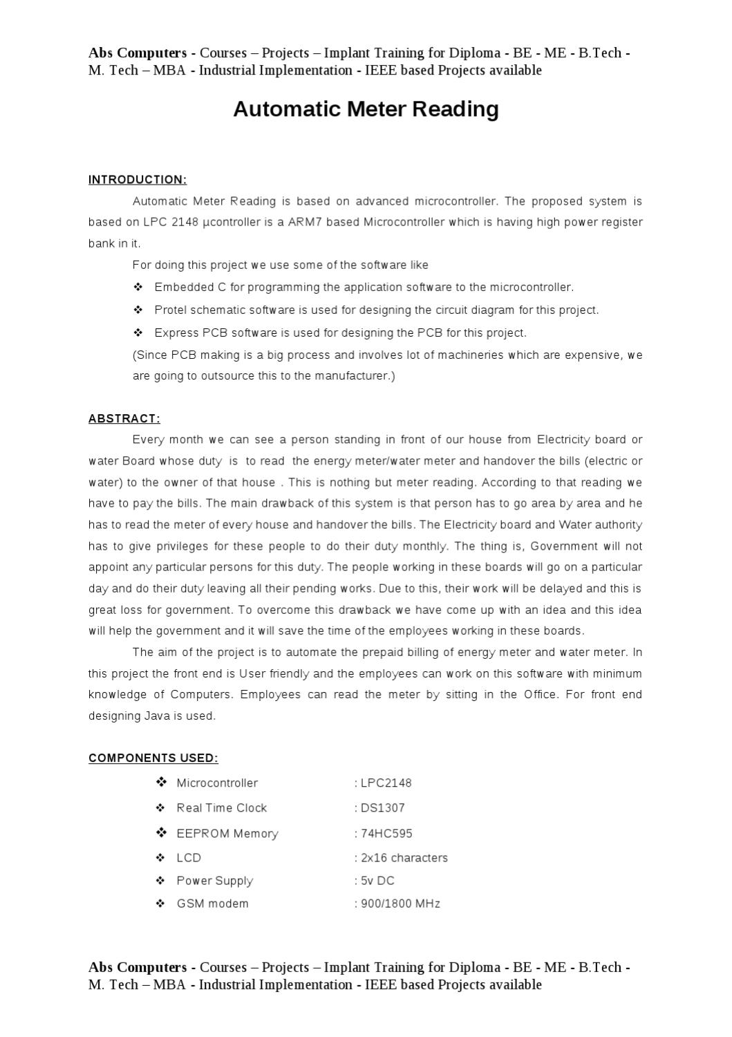 Automatic Meter Reading - Synopsis - Abs Computers - Courses