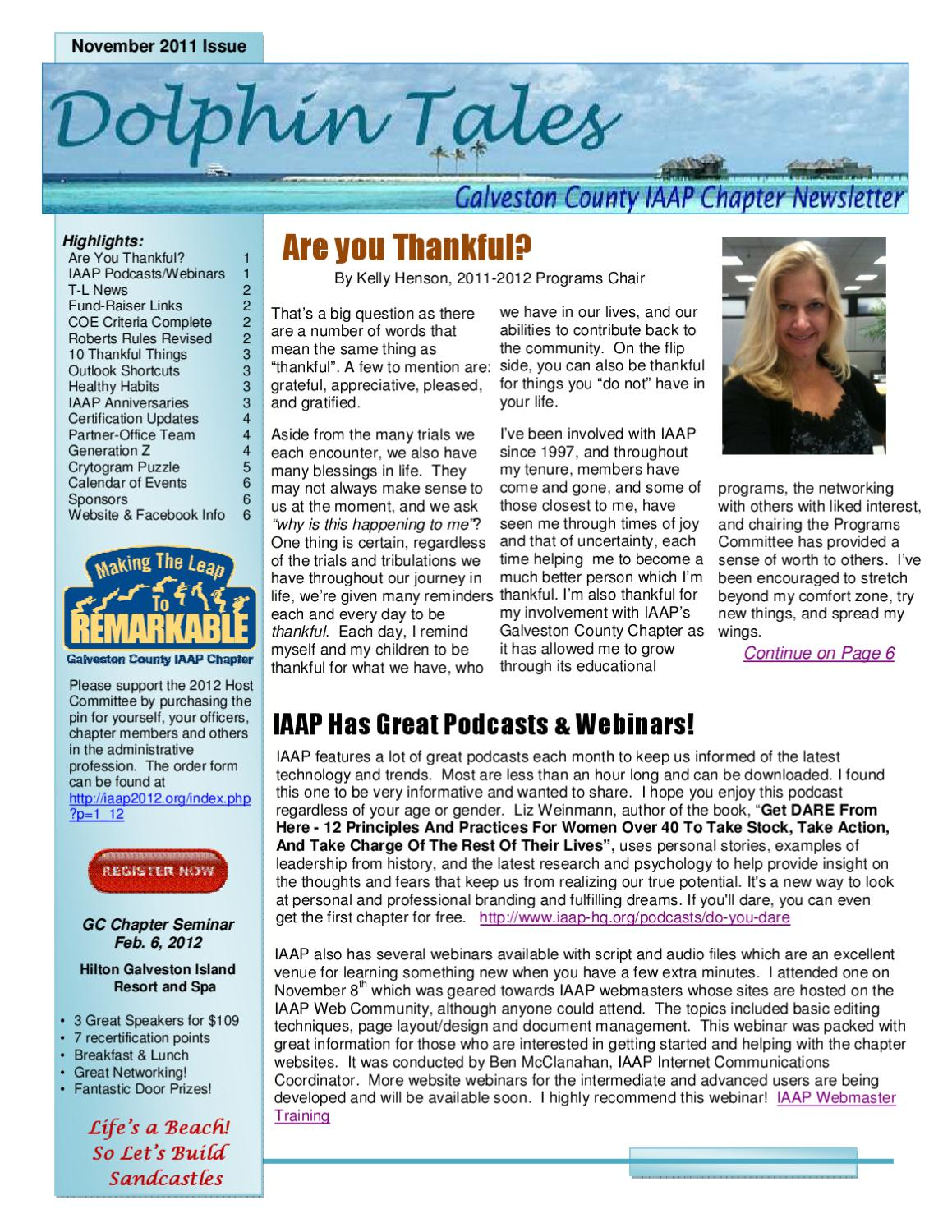 Gcc Newsletter Dolphin Tales Nov Issue By Galveston County Iaap