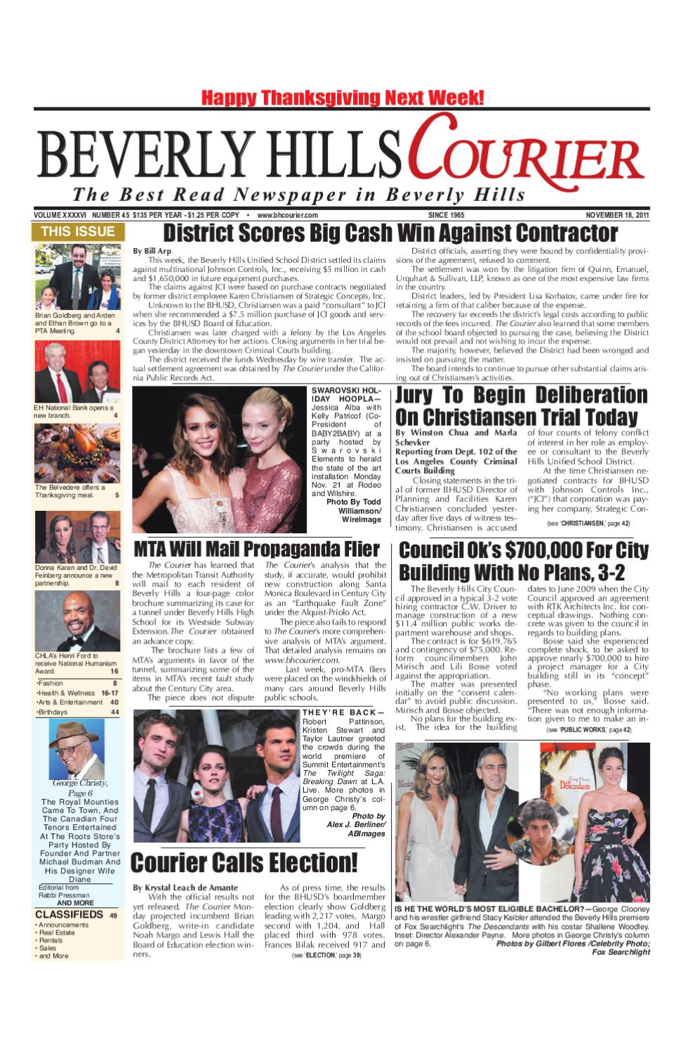 29c50ad4f55 BH Courier 11-18-2011 by The Beverly Hills Courier - issuu