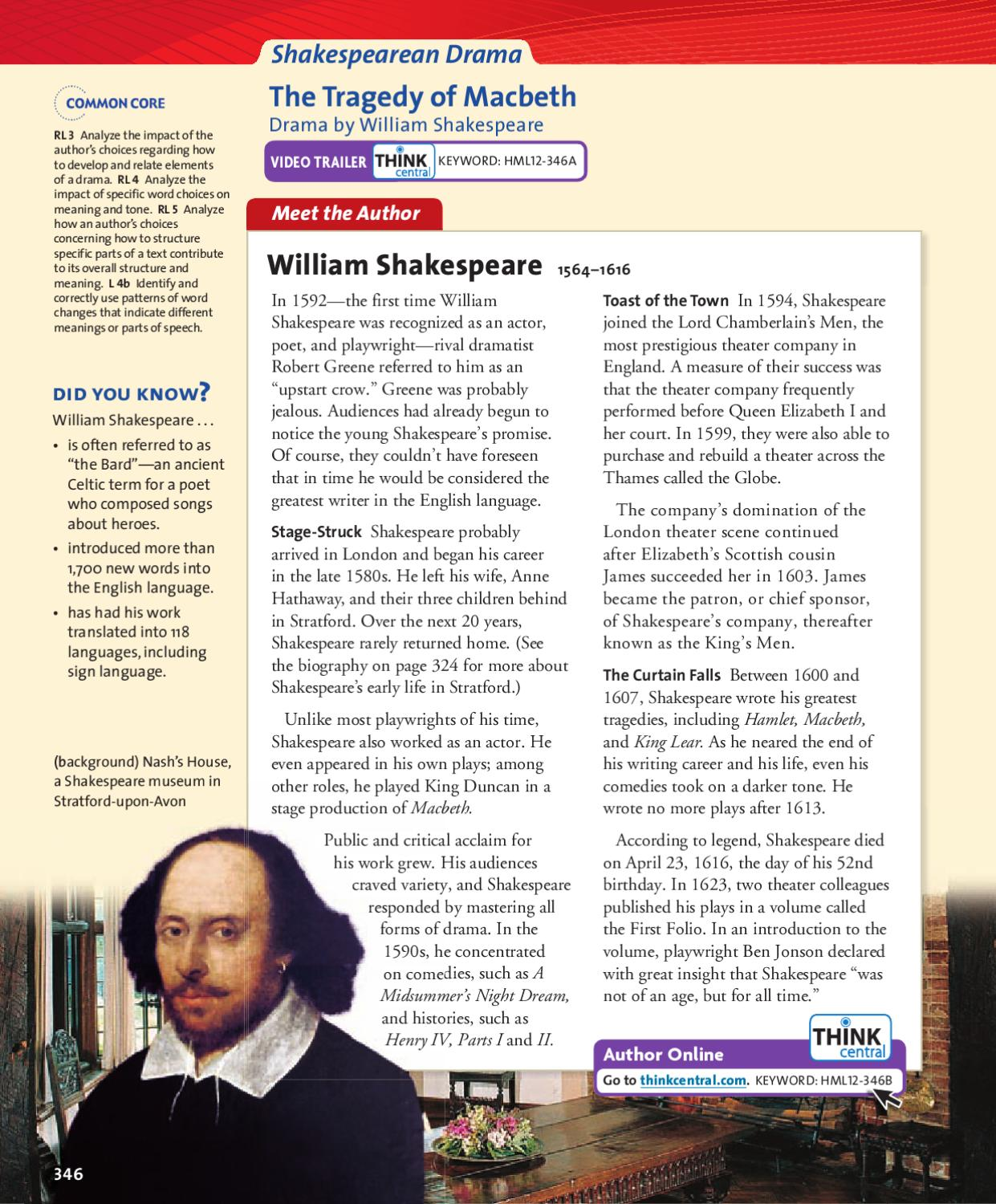 a summary and response to macbeth by william shakespeare