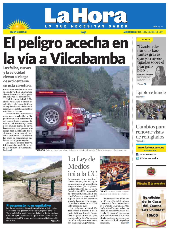 Diario La Hora Loja 23 De Noviembre 2011 By Diario La Hora Ecuador  # Muebles Bailon Peligros