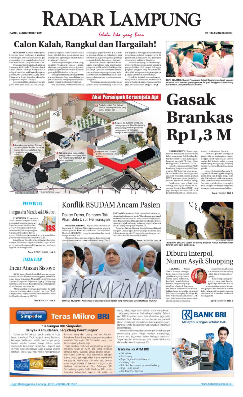 Radar Lampung Kamis 24 November 2011 By Ayep Kancee Issuu