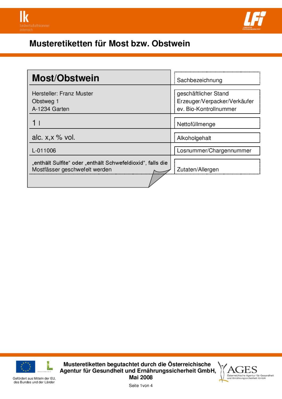 Musteretiketten Most 070708 By Lfi österreich Issuu