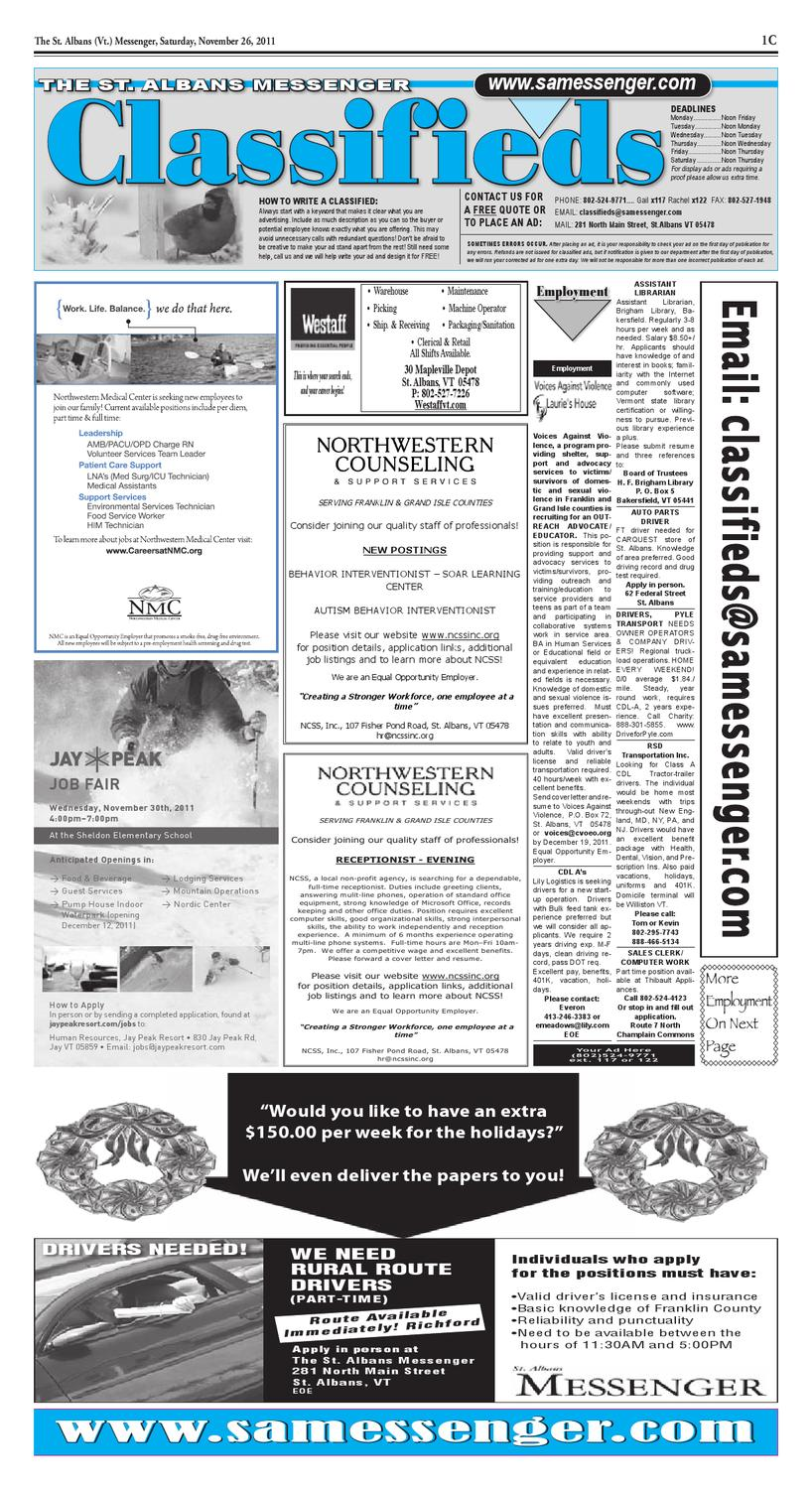 11/26/11 Classifieds by St  Albans Messenger - issuu