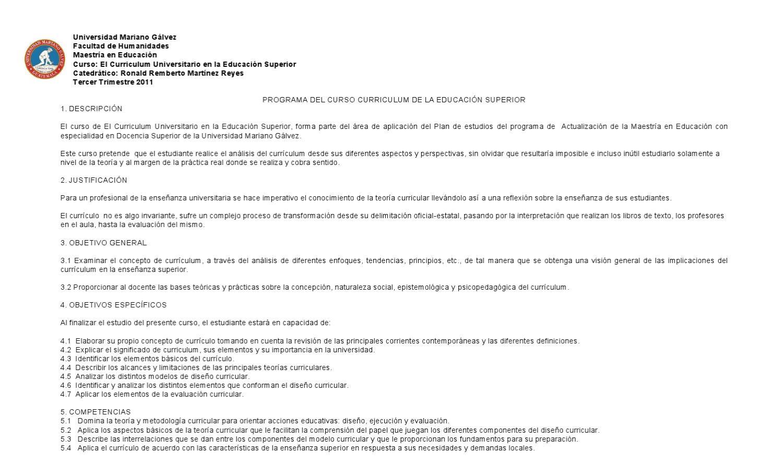PROGRMA DE CURSO CURRICULUM UNIVERSITARIO by Ronald Remberto ...