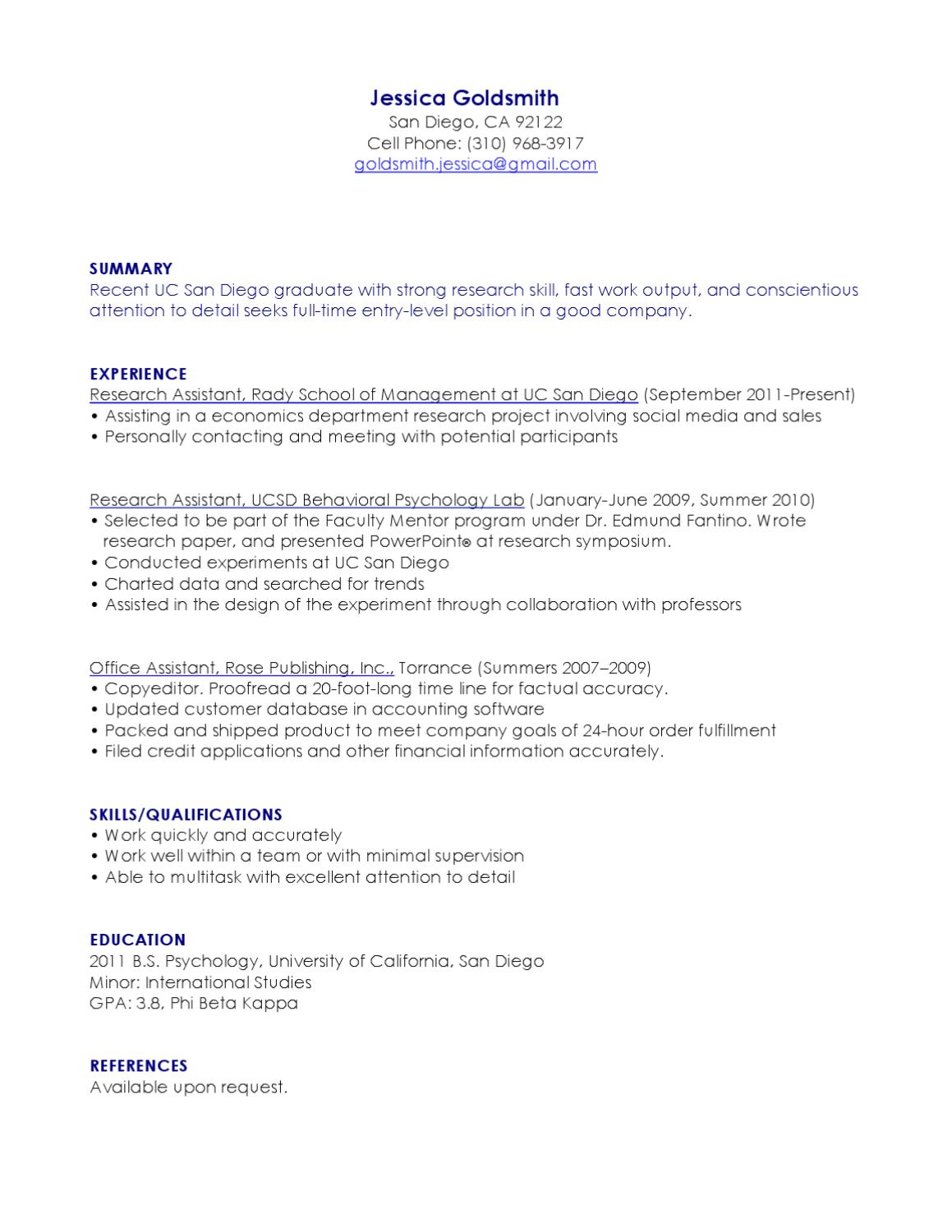 Resume Jessica Goldsmith San Diego Entry-Level Research Assistant by ...