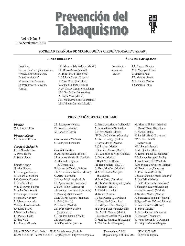 Prevención del Tabaquismo. v6 n3, Septiembre 2004. by SEPAR - issuu