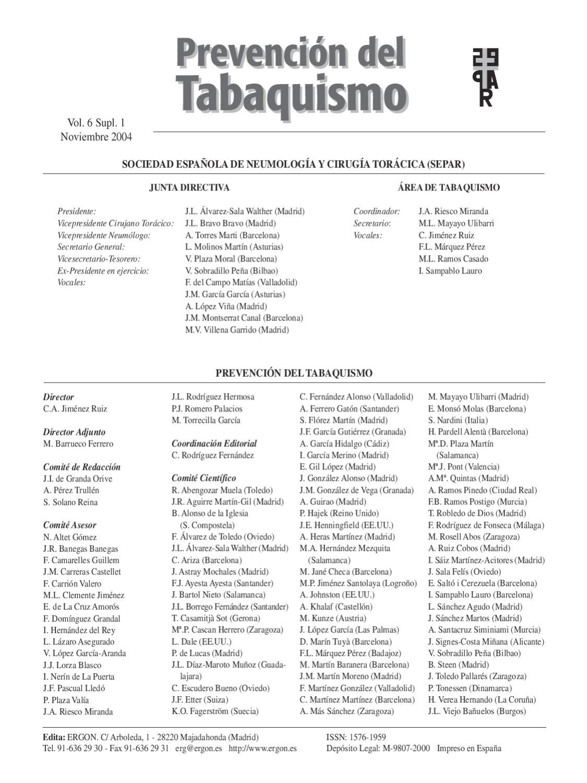Prevención del Tabaquismo. v6, sup1, Noviembre 2004. by SEPAR - issuu