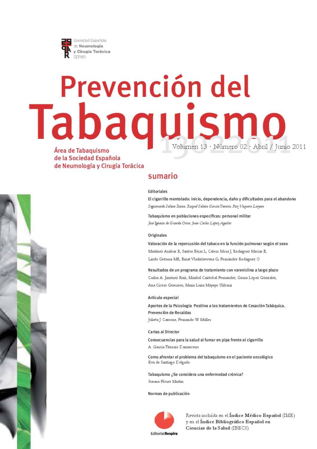 Prevención del Tabaquismo. v13, n2, Abril/Junio 2011. by SEPAR - issuu