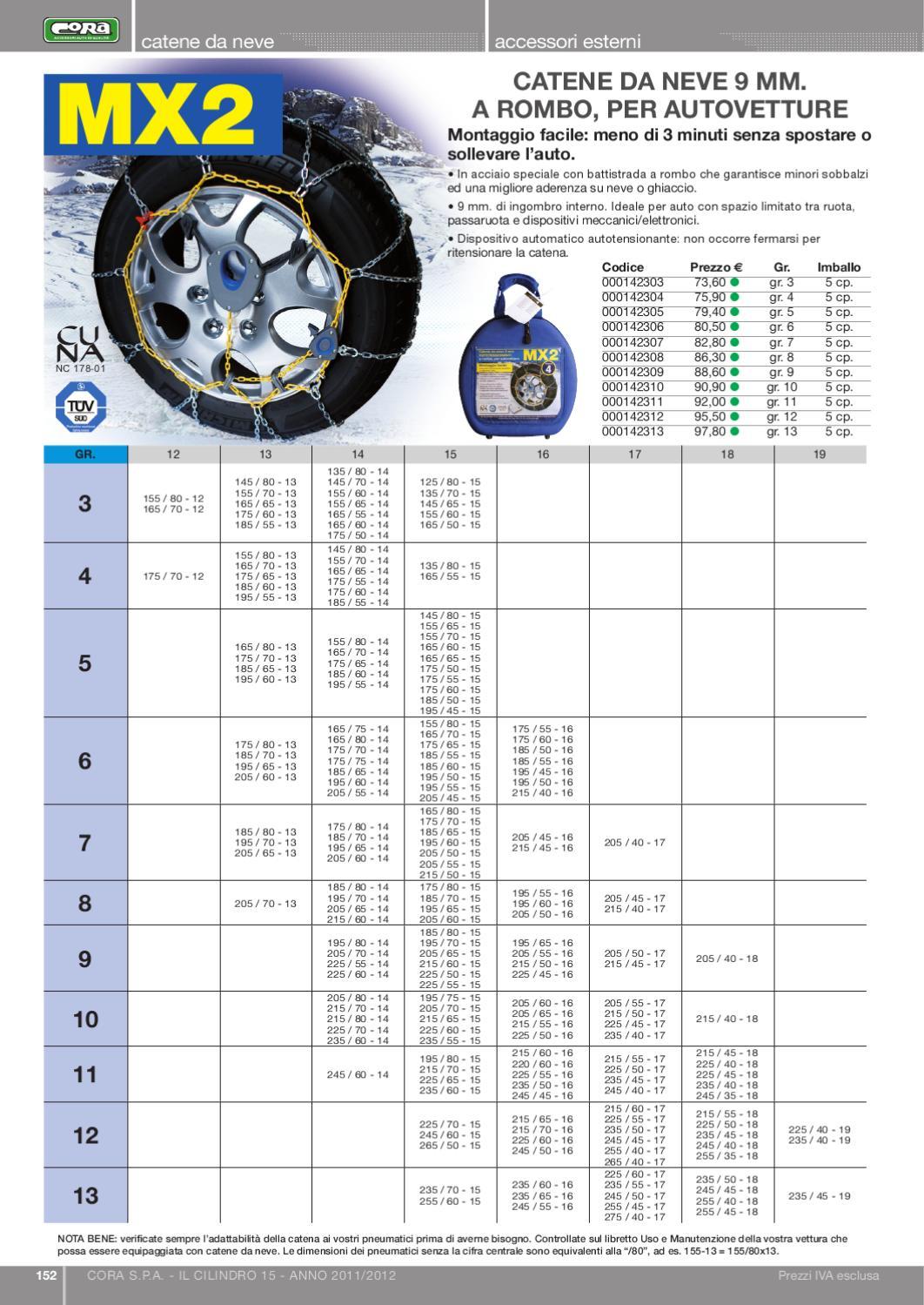 Gruppo 9,5-215//55-16 Catene da Neve per Auto a rombo da 7 MM