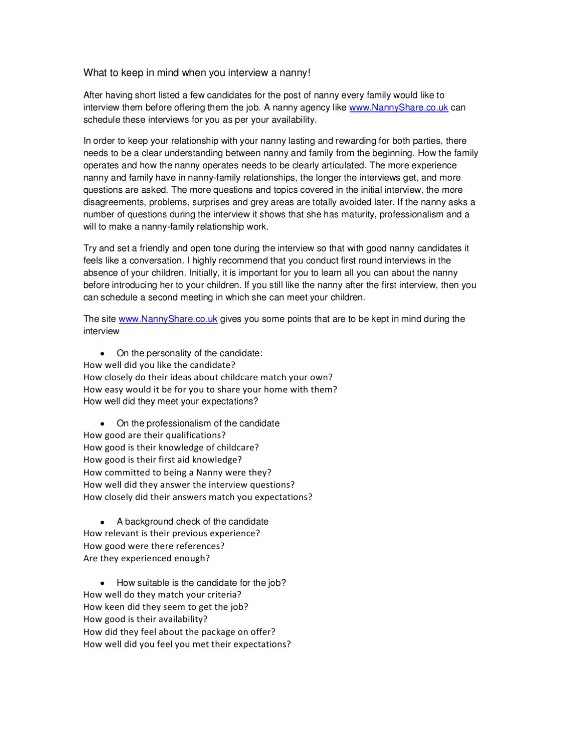 important nanny interview questions by nanny share issuu