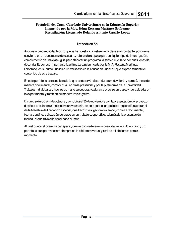 Portafolio. Curso Curriculum Universitario en la Educación Superior ...