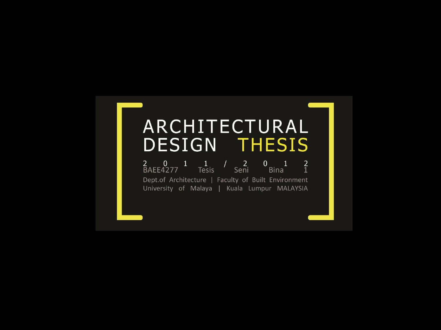 architectural thesis proposal lists